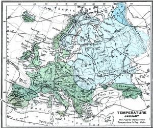 Temperatura lunii ianuarie in Europa  (1915)