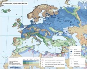 Harta resurselor de apa subterana ale Europei