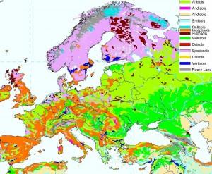 Harta solurilor in Europa
