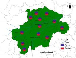 Harta Confesiuni religioase - Muntii Gilau