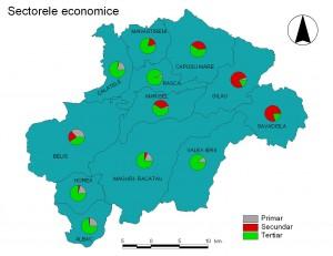 Harta Sectoarele economice - Muntii Gilau