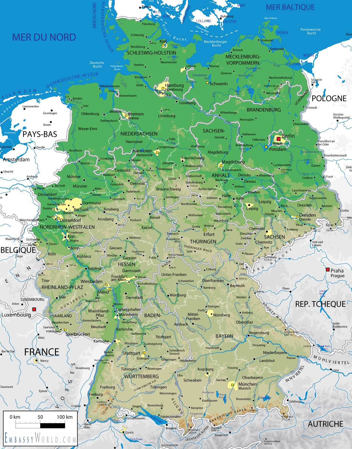 Germany Geographical Map harta ...