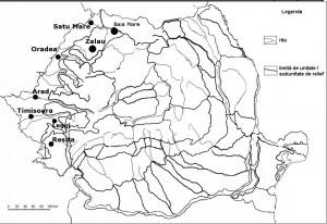 Harta Romaniei orase-zona de vest