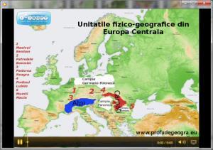 Harta - Unitatile fizico-geografice din Europa Centrala