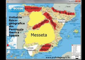 Harta - Unitatile fizico-geografice din Peninsula Iberica - Spania