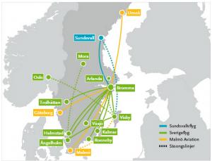 Zbor Low Cost - SundsvallsFly - Destinatii
